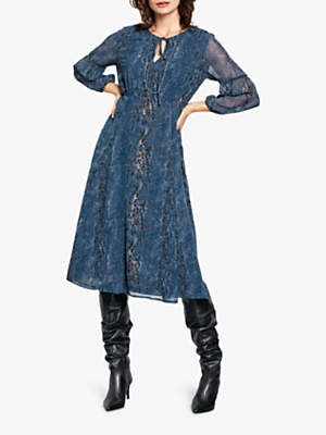 Hush Freesia Snake Print Midi Dress, Blue