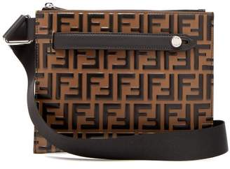 Fendi Logo Embossed Leather Messenger Bag - Mens - Brown Multi