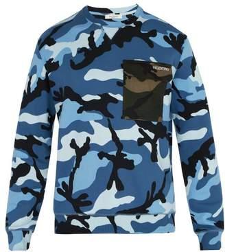 Valentino Camouflage Print Contrast Pocket Sweatshirt - Mens - Blue