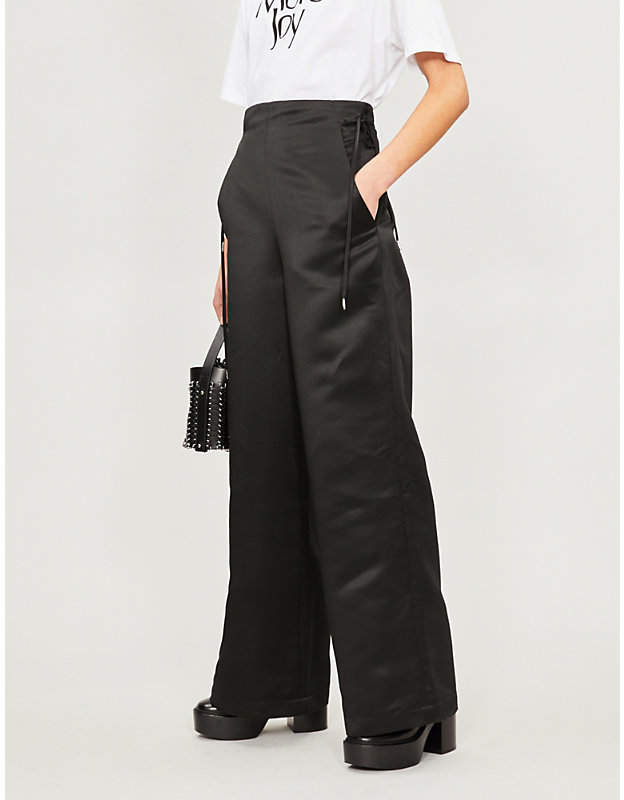 HANGER Kamibukuro paper bag-waist satin trousers