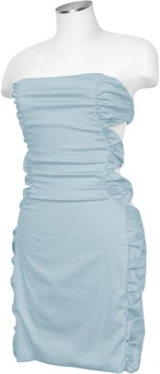 Hafize Ozbudak Light Blue Cut-out Back Strapless Mini Cotton Dress