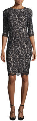 Carolina Herrera Half-Sleeve Lace Sheath Dress, Black