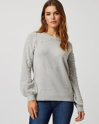 Le Château Pearl Embellished Bishop Sleeve Sweater