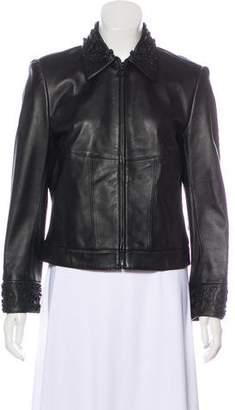 St. John Sport Embellished Leather Jacket