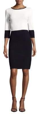 St. John Santana Knit Two-Tone Sheath Dress