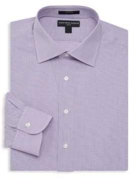 Saks Fifth Avenue BLACK Slim-Fit Mini Checker Print Dress Shirt