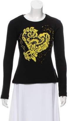 Ermanno Scervino Embroidered Wool-Blend Sweater yellow Embroidered Wool-Blend Sweater