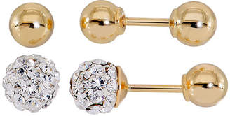 FINE JEWELRY Infinite Gold Kids Crystal 14K Yellow Gold 2-pr. Ball Stud Earring Set