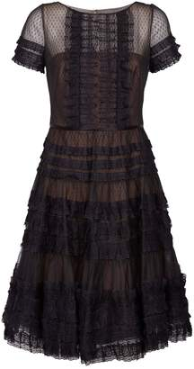 Marchesa Lace and Mesh Tiered Dress