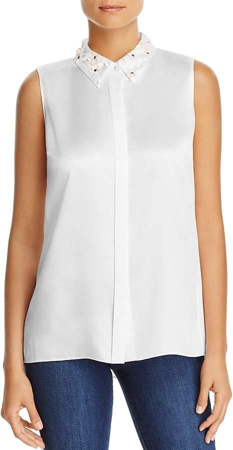 Elie Tahari Wren Embellished Collar Silk Blouse - 100% Exclusive