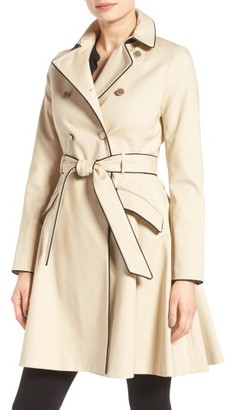Women's Ted Baker London Piped Belted A-Line Macintosh Coat $465 thestylecure.com