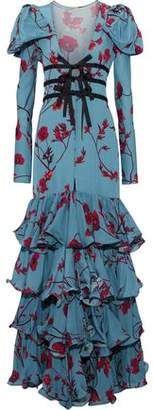 Johanna Ortiz Zingara Tiered Floral-Print Silk-Blend Gown
