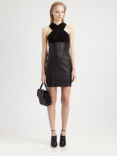 Alexander Wang Criss Cross Leather & Stretch-Suede Dress