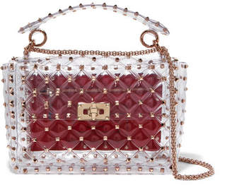 b106a36bc651 Valentino Garavani The Rockstud Spike Medium Quilted Pvc Shoulder Bag - Red