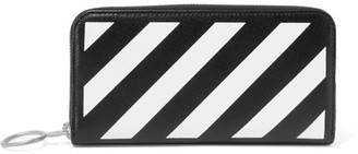 Off-White - Striped Medium Textured-leather Continental Wallet - Black $240 thestylecure.com