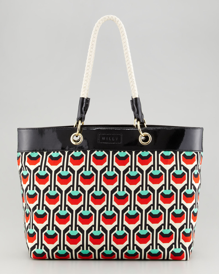 Milly Geometric-Print Canvas Tote, Red/Green
