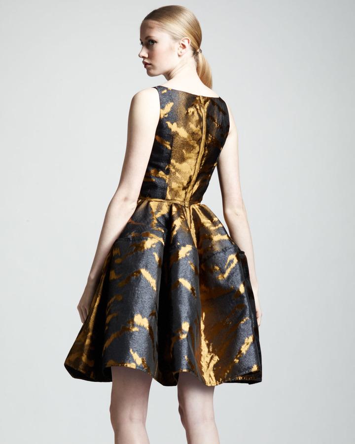 Lanvin Tiger-Jacquard Full-Skirt Dress