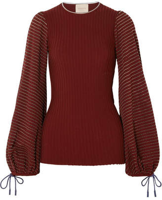 Roksanda Saida Tulle-paneled Stretch-jersey And Ribbed-knit Top - Burgundy