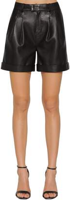 Karl Lagerfeld Paris PLEATED LEATHER SHORTS
