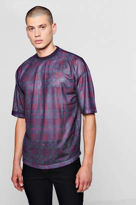 boohoo Loose Fit Tartan Check Mesh T-Shirt
