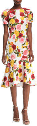 Naeem Khan High-Neck Floral-Print Matelasse Midi Cocktail Dress