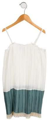 Il Gufo Girls' Lace-Trimmed Plissé Dress