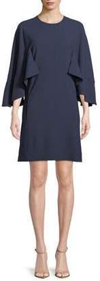 Chloé 3/4-Sleeve Ruffled Crepe Dress