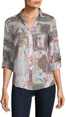 Raga Women's Printed Cotton Button-Down Shirt