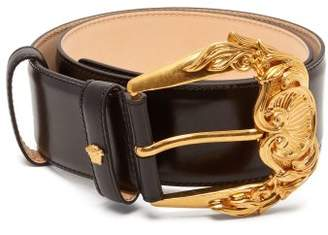 Versace Baroque Leather Belt - Womens - Black