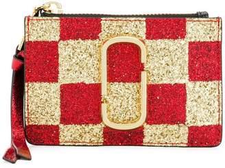 Marc Jacobs glitter checkered zip purse