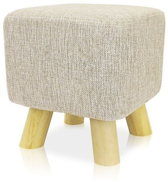BEIGE DL furniture - Ottoman Foot Stool Square Shape, 4 leg Stands| Linen Fabric, Cover