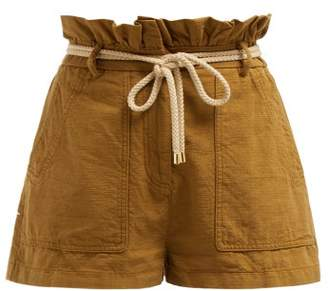 Valentino Paperbag Waist Belted Cotton Shorts - Womens - Camel