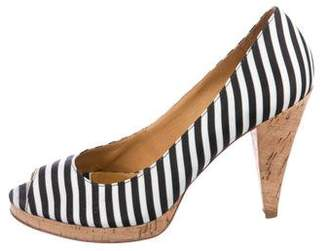 KORS Striped Peep-Toe Pumps