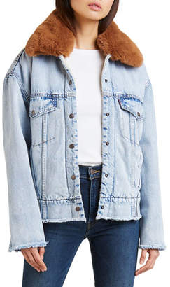 Levi's Premium Oversized Denim Trucker Jacket with Faux-Fur Collar