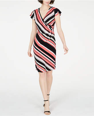INC International Concepts I.N.C. Striped Flutter-Sleeve Dress, Created for Macy's