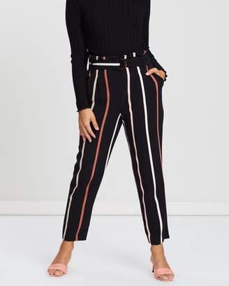 Miss Selfridge Petite Multi Stripe Paperbag Pants