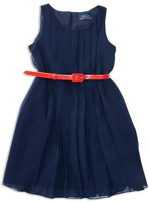Ralph Lauren Polo Girls' Pleated Georgette Dress - Little Kid
