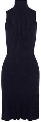 SEA - Split-back Ribbed Cotton-blend Turtleneck Top - Navy $295 thestylecure.com