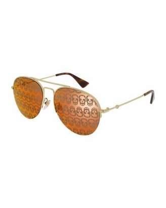 Gucci Skull Hologram Half-Rim Metal Aviator Sunglasses, Brown
