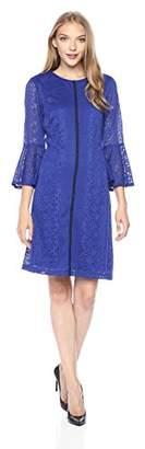 Gabby Skye Women's 3/4 Sleeve Round Neck Lace a-Line Dress