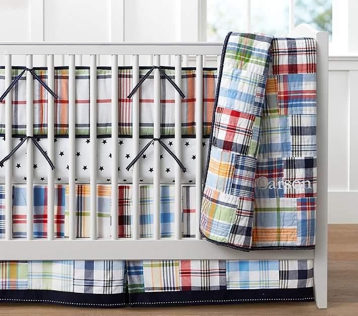 Madras Nursery Quilt Bedding Set