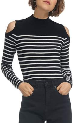 Whistles Cold-Shoulder Striped Button-Detail Sweater