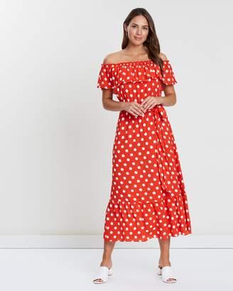 Wallis Spot Midi Bardot Ruffle Hem Dress