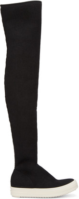 Rick Owens Drkshdw Black Over-The-Knee Boots $975 thestylecure.com