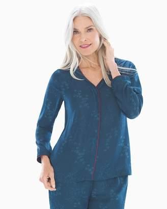 Satin Jacquard Long Sleeve Button Front Pajama Top