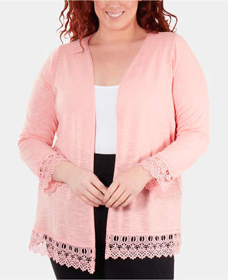 6cca2468f23e7 NY Collection Plus Size Lace-Trimmed Open-Front Cardigan Sweater