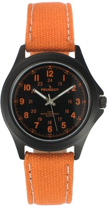 Peugeot Men's Casual Aviator Canvas Watch - 2055OR