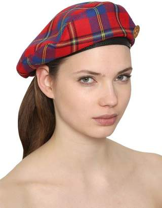 Versace Wool Plaid Beret