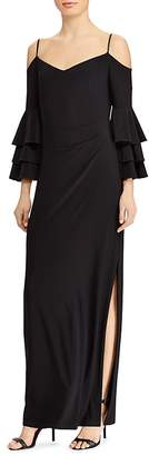 Lauren Ralph Lauren Cold-Shoulder Bell-Sleeve Gown