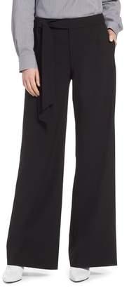 Halogen Tie Waist Wide Leg Stretch Crepe Pants